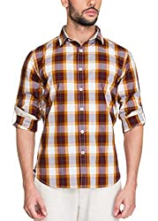 Zovi Cotton Slim Fit Casual White and Brown Checkered Shirt with Printed Placket(11895600901_Medium)