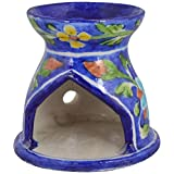 Shiv Kripa Blue Pottery Ceramic Home Fragrance Lamp (12 Cm X 15 Cm X 12 Cm, BP01)