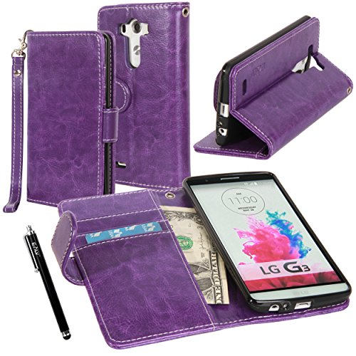 LG G3 Case, LG G3 Flip Case - E LV LG G3 Deluxe PU Leather Folio Wallet Full Body Protection Case Cover for LG G3 with 1 Stylus - Purple (Wallet For Lg G3 compare prices)