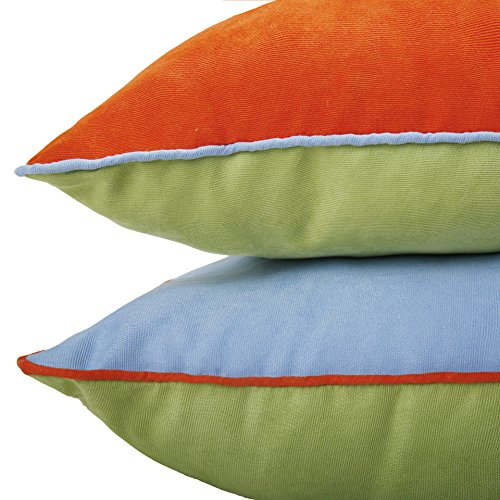 DOZZZ 2 Pack Indoor/Outdoor Summer Accent Pillow Corduroy Throw Pillow Set for Couch Pillow Square Cushion for Chair/ Seat/ Bench Floor Cushion Set of 2, 18 x 18 Inch, Orange/ Green/ Blue