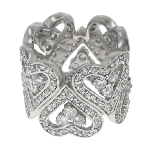 Size 10.5 925 Silver Up & Down Pave Heart CZ Band Ring