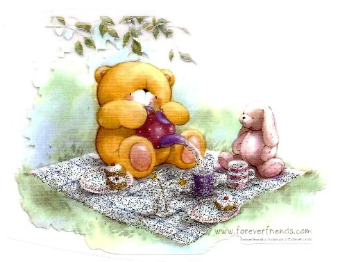 Forever Friends Teddy Bear w Bunny Rabbit Picnic