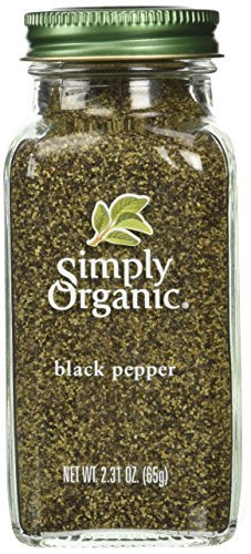 Simply Organic Pepper, Black Medium Grind Certified Organic, 2.31 Ounce Containers  (Pack of 3)