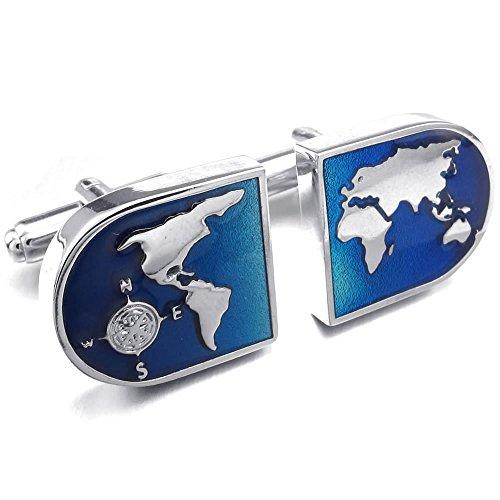 KONOV 2pcs Rhodium Plated Men's World Map Shirts Cufflinks, Wedding, Blue Silver, 1 Pair