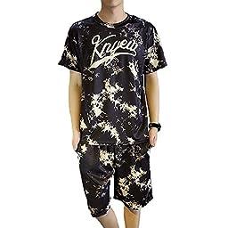 Aoibox Men\'s Printing Tracksuit Pullover T-shirt and Elastic Waist Shorts