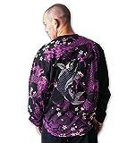 (カラクリタマシイ) 絡繰魂 大きいサイズ 昇り鯉刺繍長袖Tシャツ 3L ブラック