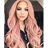 EEWIGS Lace Front Wigs Pink Wigs for Women Synthetic Rose Wig Long Wavy (Color: Pink, Tamaño: 26 inches)