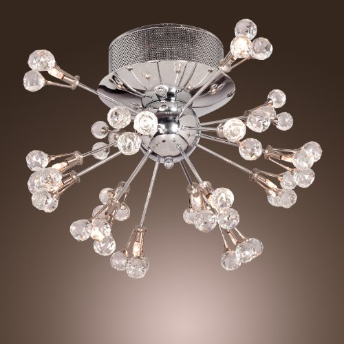 Lightinthebox K9 Crystal Chandelier Modern Flush Mount Ceiling Light Fixture With 16 Lights For Hallway, Entry, Bedroom, Living Room, With Bulb Included