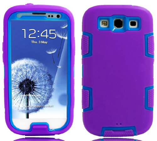 Mylife (Tm) Purple And Sky Blue - Robot Armor Series (3 Piece Neo Hybrid Flexi Case + Urban Body Armor Glove) Case For Samsung Galaxy S3 Gt-I9300 And Gt-I9305 Touch Phone (Thick Silicone Outer Gel + Tough Rubberized Internal Shell + Mylife (Tm) Lifetime W