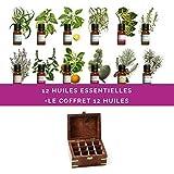 Coffret en bois garni de 12 huiles essentielles 10ml H.E.B.B.D (livraison gratuite France Métropolitaine))