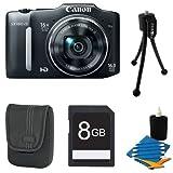 Canon Powershot SX150 IS 14MP Digital Camera with 12x Zoom Bundle (Black)