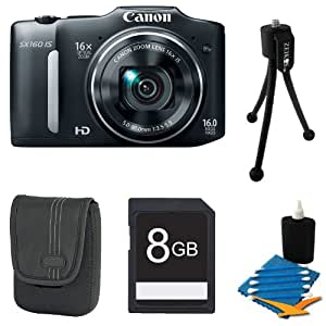 Canon Powershot SX150 IS 14MP Digital Camera with 12x Zoom Bundle (Black)