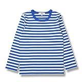 (コマンス)commencer子供服 ボーダー長袖 Tシャツ 100-160cm 男の子 女の子 キッズ カットソートップス (100, 青×白)