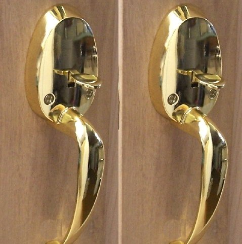 TWO Very Impressive Surface Mount Door Handle French Door Handles in Polished Brass, Easy to Install on One Side of Two Doors.