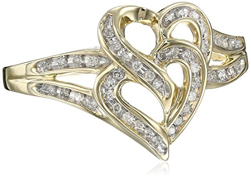 10k Yellow Gold Diamond Heart Ring (1/10 cttw), Size 8