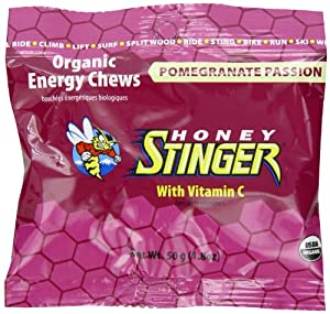 Honey Stinger Organic Energy Chews, Pomegranate Passion Fruit, 1.8-Ounce Bags (Pack of 12)