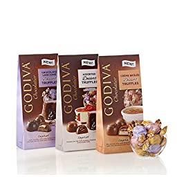 GODIVA Chocolatier Assorted Dessert Truffles, Wrapped, Set of 3
