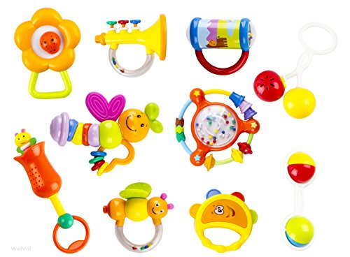 WolVol-10-Piece-Baby-Rattle-Toy-Gift-Set-with-Mirror-Bells-Instruments