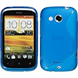 PhoneNatic HTC Desire C Hülle Silikon blau S-Style Tasche Desire C Case + Schutzfolien