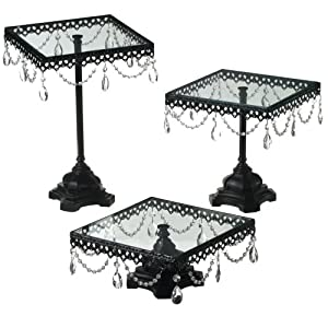 jeweled black square cake stands