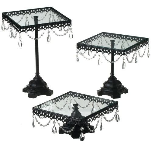 Midwest CBK Jeweled Black Square Cake Stand, Set of 3 (Kitchen)