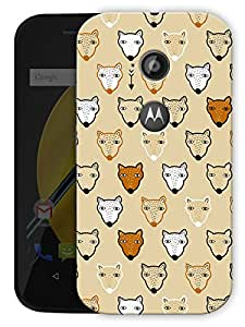 "Wolfs And Foxes Cute Vintage Printed Designer Mobile Back Cover For ""Motorola Moto E2"" By Humor Gang (3D, Matte Finish, Premium Quality, Protective Snap On Slim Hard Phone Case, Multi Color)"