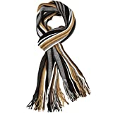 Sakkas 1591 - Rhyland Striped Color Block Knitted Winter Scarf With Fringe - Tan/Black - OS