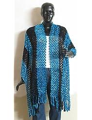 Dark Blue And Black Fancy Silk Thread Stole - Silk Thread