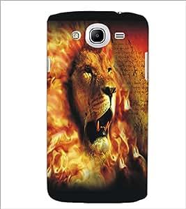 PrintDhaba Lion Face D-5426 Back Case Cover for SAMSUNG GALAXY MEGA 5.8 (Multi-Coloured)