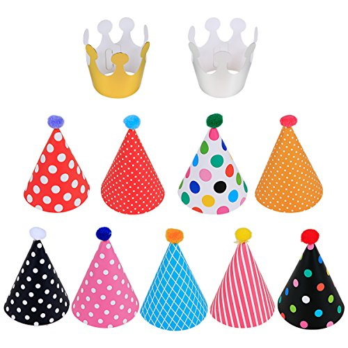 LeeSky-Birthday-Party-HatsKids-Party-Hats-Set-of-11Fun-Adult-Party-Hats-9-Hats-and-2-Crowns