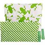 Lunchskins2 Multi-Pack Reusable Sandwich and Snack Bag, Green Frog/Stripe, Set of 2