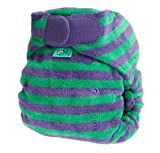 Tots Bots Bamboozle Stretch Stripey nappy, bamboo, aplix size 2 (10-35lbs) Thistle