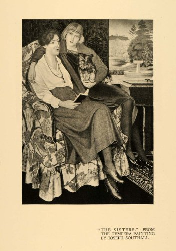 1920-print-sisters-chair-dog-love-tempera-painting-art-original-halftone-print