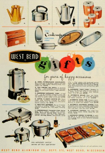 1959 Ad West Bend Aluminum Steel Gold Electro-Plated Flavo-Matic Coffee Maker - Original Print Ad