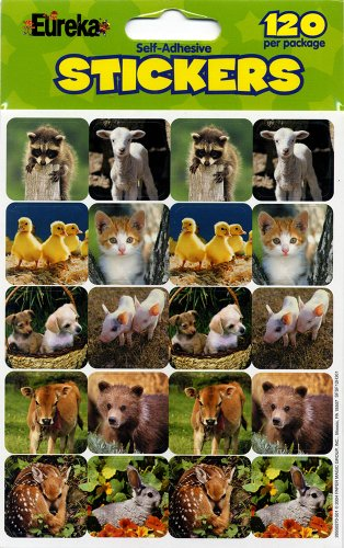 Eureka Baby Animals Real Photos Stickers