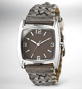 Square Face Plaited Strap Watch