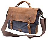 Gootium 21108GRY High Density Canvas Leaisure Busineess Bag Genuine Leather Deco, Grey
