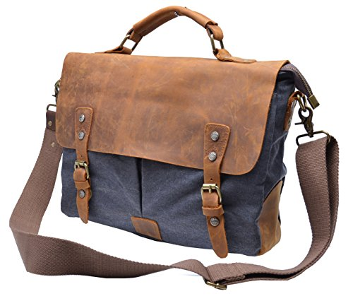 Gootium 21108GRY High Density Canvas Leaisure Busineess Bag Genuine Leather Deco, Grey image