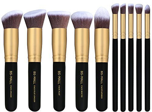 BS-MALL Premium Synthetic Kabuki Makeup Brush Set Cosmetics Foundation Blending Blush Eyeliner Face Powder Brush Makeup Brush Kit (10pcs, Golden Black)