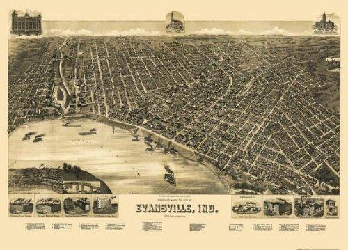 1888 Evansville Indiana Panoramic Map