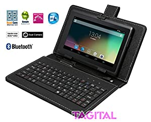 """Tagital® T7X 7"""" Quad Core Android 4.4 KitKat Tablet PC, Bluetooth, Dual Camera, Play Store Pre-installed, 2015 est Model Bundled with Keyboard"""