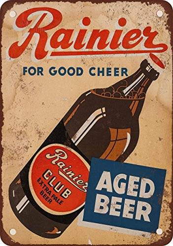 1934 Rainier Club Extra Pale Beer Vintage Look Reproduction Metal Sign (Rainier Beer Sign compare prices)