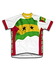Sao Tome And Principe Flag Short Sleeve Cycling Jersey for Women