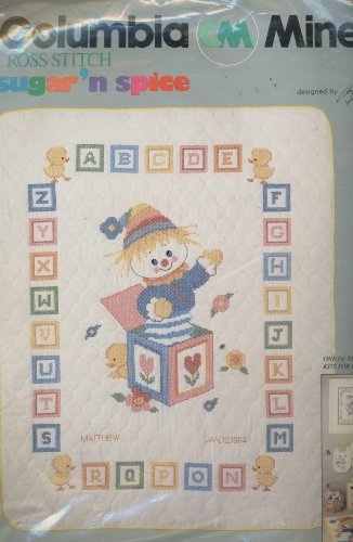 columbia-minerva-cross-stitch-kit-sugar-n-spice-jack-in-the-box-crib-cover-designed-by-ruth-morehead