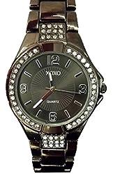 XOXO Women's XO5258 Gun Metal-Tone Bracelet With Rhinestones Accent Watch
