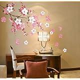 Plum Blossom Flowers Butterfly Wall Decal Home Sticker (DESIGN 1, 1)