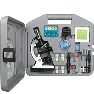 AmScope M30-ABS-KT2-W Beginner Microscope Kit, LED and Mirror Illumination, 300X, 600x, and 1200x Magnification, Includes 49-Piece Accessory Set and Case, White