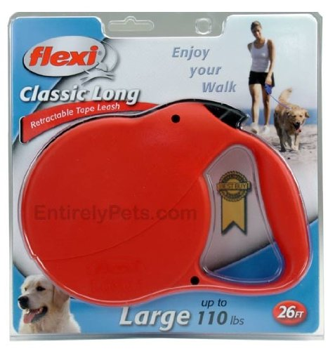 Flexi Long 3 Retractable TAPE Leash for Dogs up to 110 lbs., Color: RED-26ft