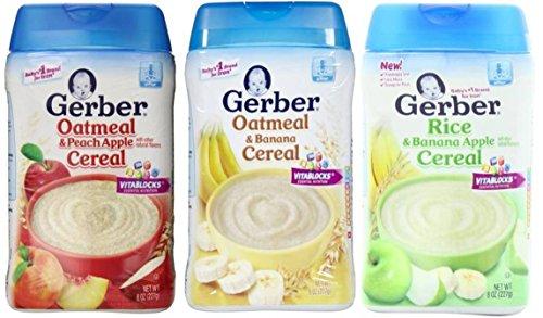 Gerber Baby Cereal 3 Flavor Variety Bundle: (1) Gerber Oatmeal & Banana Cereal, (1) Gerber Oatmeal & Peach Apple Cereal, and (1) Gerber Rice & Banana Apple Cereal, 8 Oz. Ea. (3 Cereal Boxes)