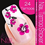 Nail Art Tattoo Sticker Hibiscus / Flower / Blossom - pink